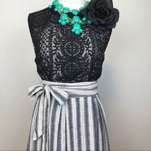 Max Studio Striped Tie Waist Midi Skirt